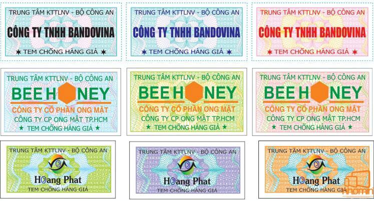 mẫu tem chống hàng giả