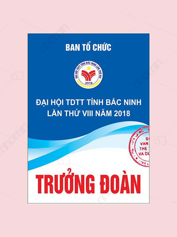 Mẫu thẻ ban tổ chức đại hội thể dục thể thao Bắc Ninh