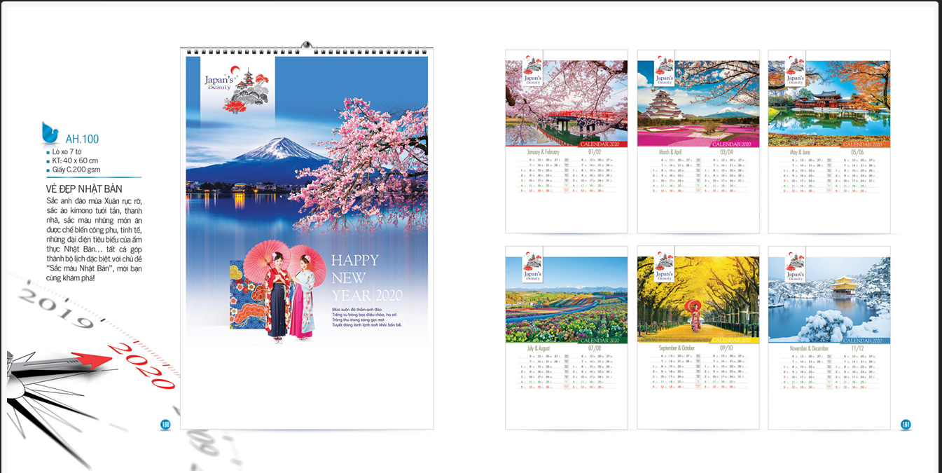 Mẫu lịch treo tường AH 2020 - Vẻ đẹp Nhật Bản