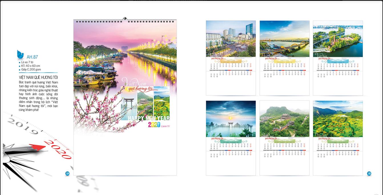 Mẫu lịch treo tường AH 2020 - Việt Nam Quê hương tôi