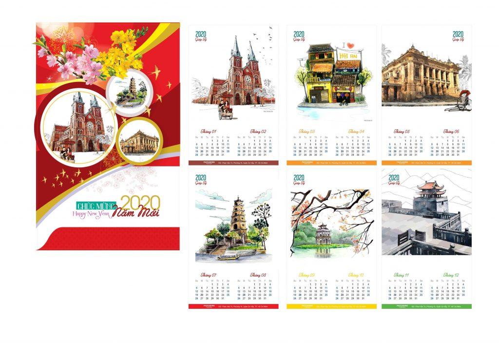 Mẫu lịch treo tường Nhóm In 2020 - Cảnh đẹp Việt Nam