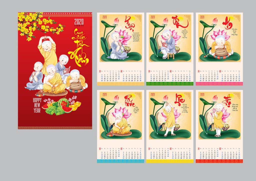 Mẫu lịch treo tường Nhóm In 2020 - Cậu bé và hoa sen