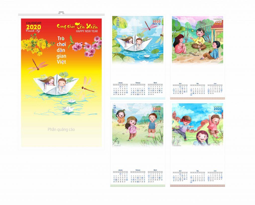 Mẫu lịch treo tường Nhóm In 2020 - Trò chơi dân gian Việt