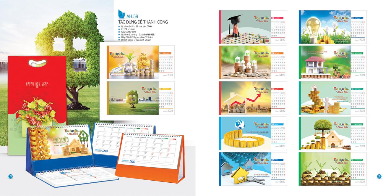 Mẫu lịch để bàn AH 2020 - Tạo dựng để thành công