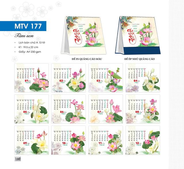 Mẫu lịch để bàn MTV 2020 - Tâm sen