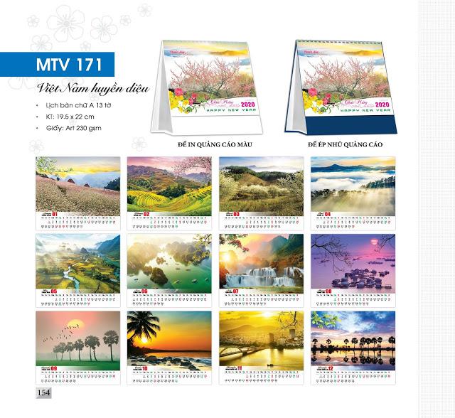Mẫu lịch để bàn MTV 2020 - Việt Nam huyền diệu