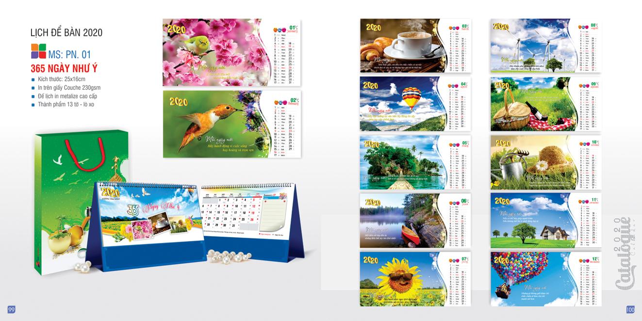 Mẫu lịch để bàn PN 2020 - 365 ngày như ý