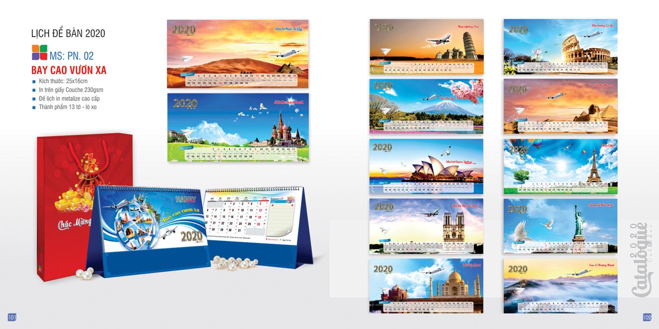 Mẫu lịch để bàn PN 2020 - Bay cao bay xa