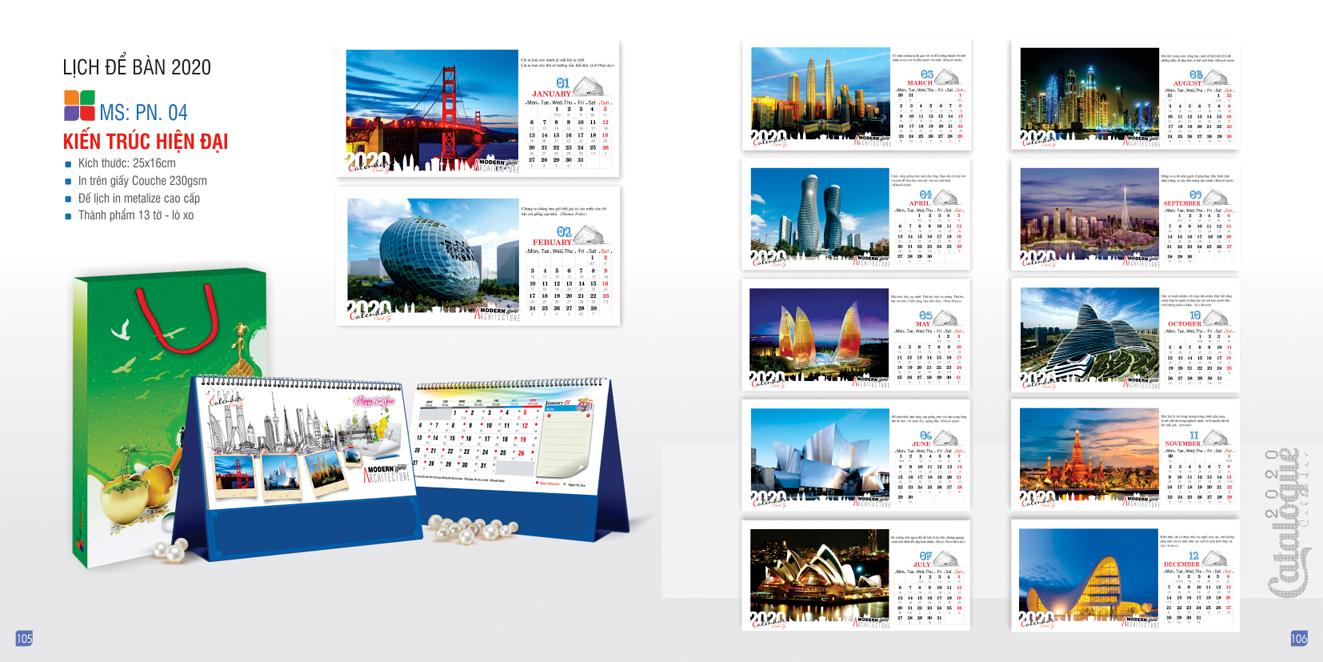 Mẫu lịch để bàn PN 2020 - Kiến trúc hiện đại