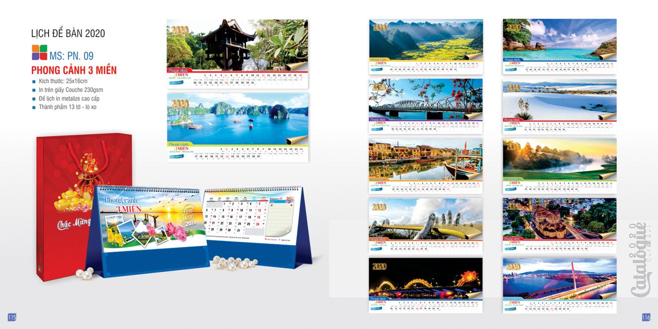 Mẫu lịch để bàn PN 2020 - Phong cảnh ba miền