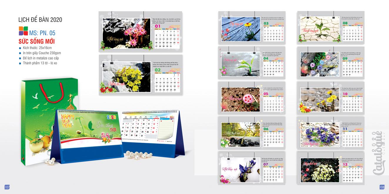 Mẫu lịch để bàn PN 2020 - Sức sống mới