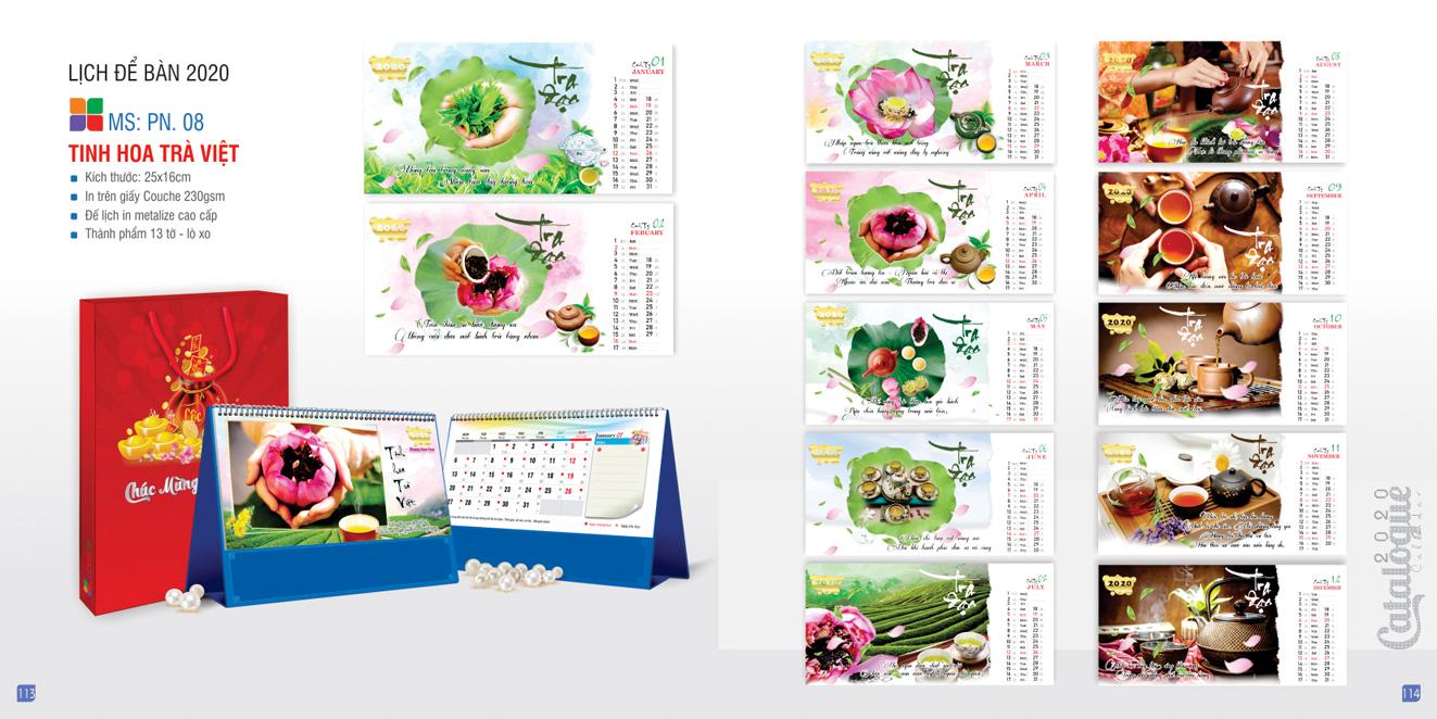 Mẫu lịch để bàn PN 2020 - Tinh hoa trà Việt