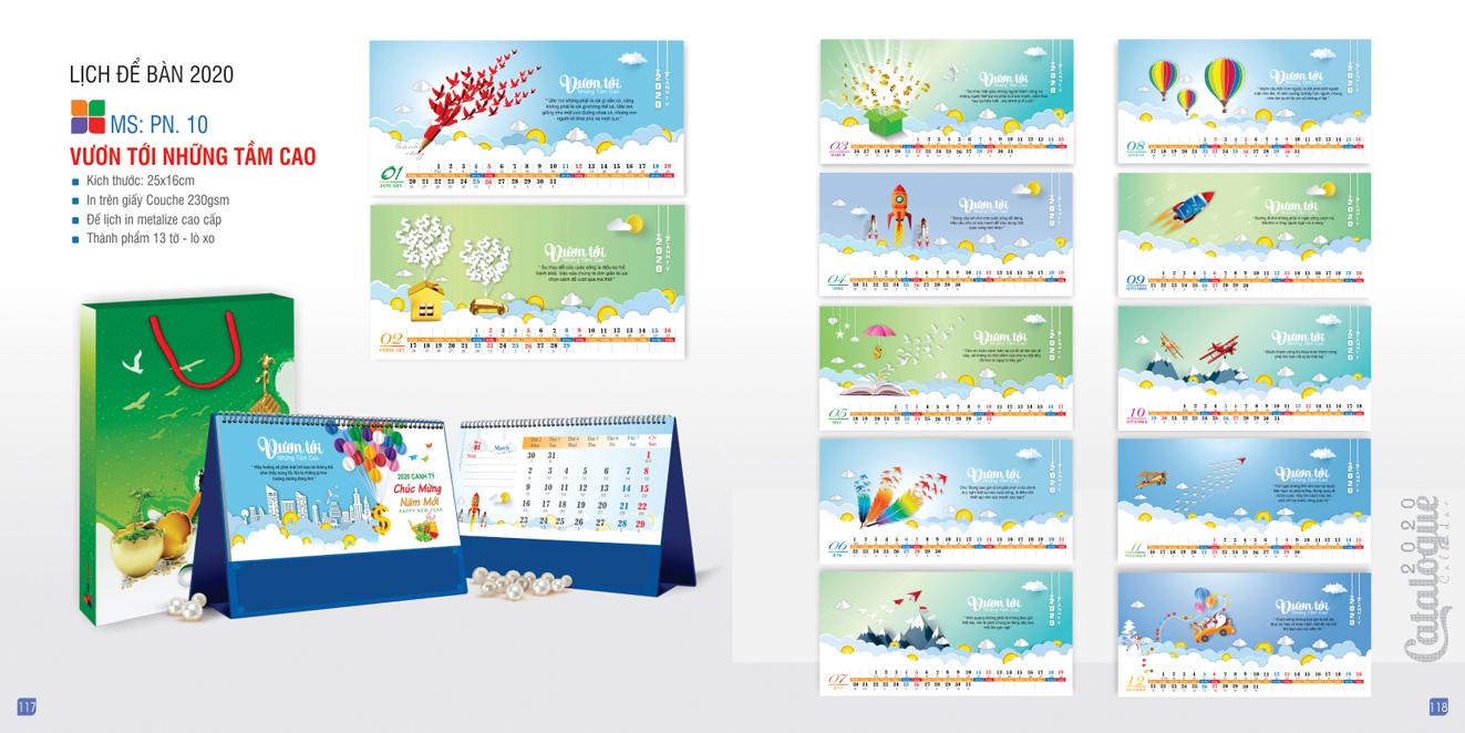 Mẫu lịch để bàn PN 2020 - Vươn tới những tầm cao