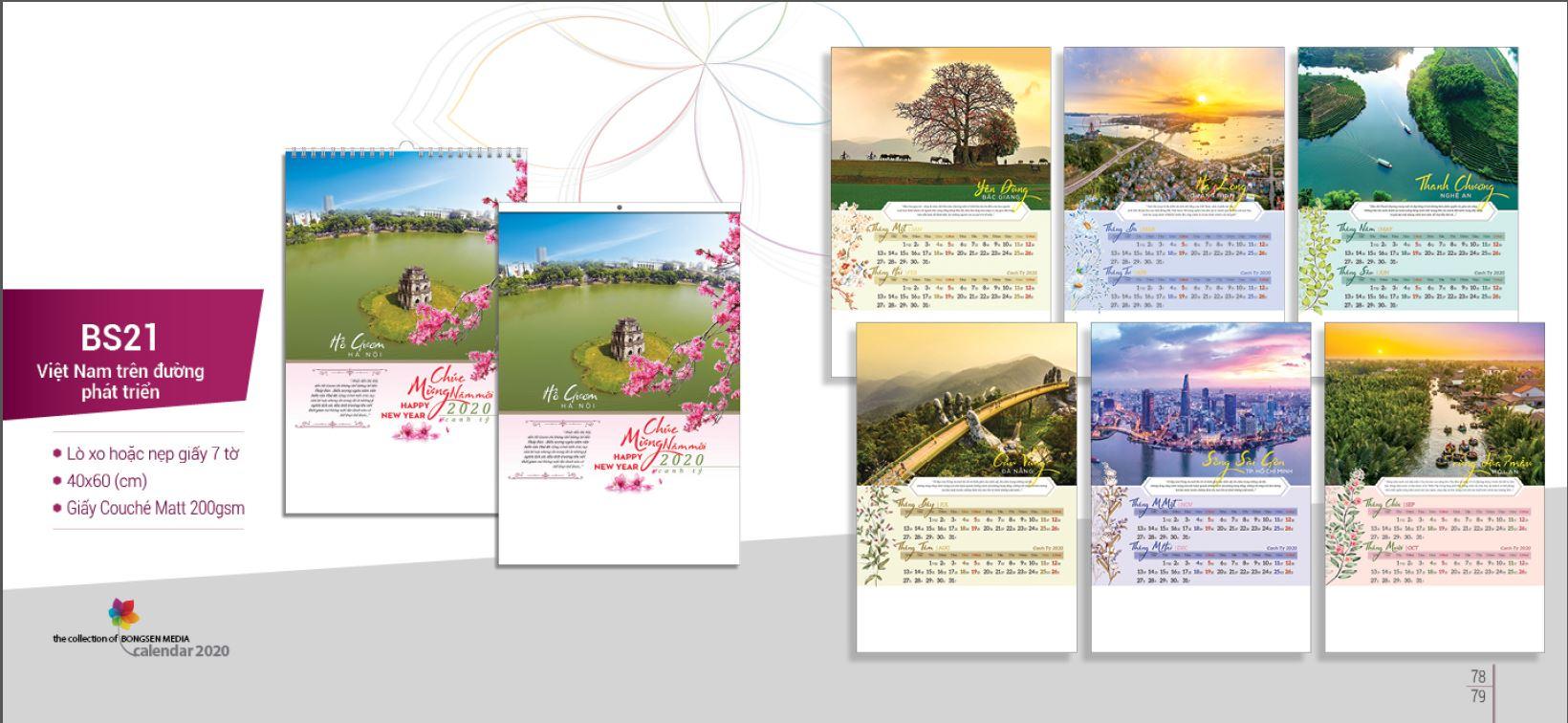 Mẫu lịch Tết treo tường BS 2020 - Việt Nam trên đường phát triển