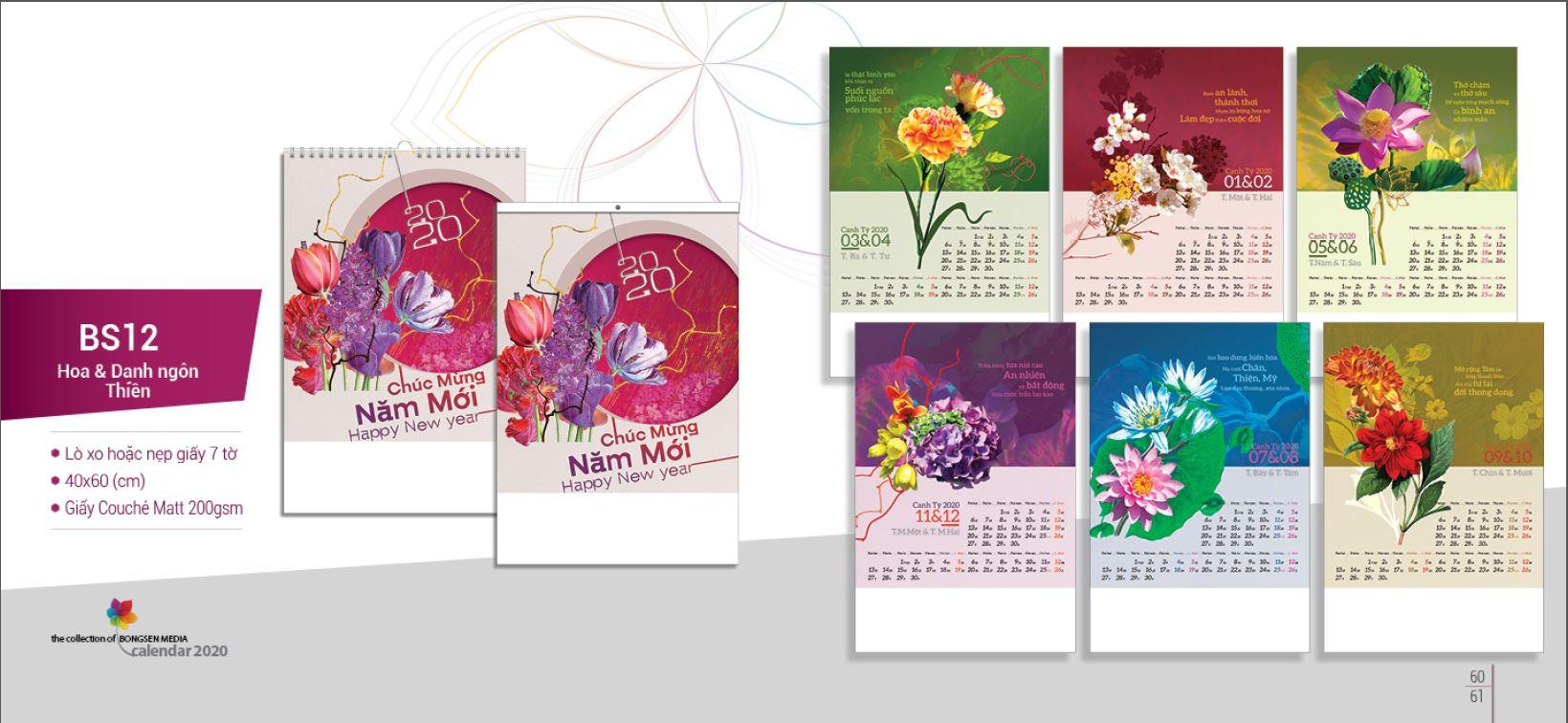 Mẫu lịch Tết treo tường BS 2020 - Hoa và danh ngôn thiền