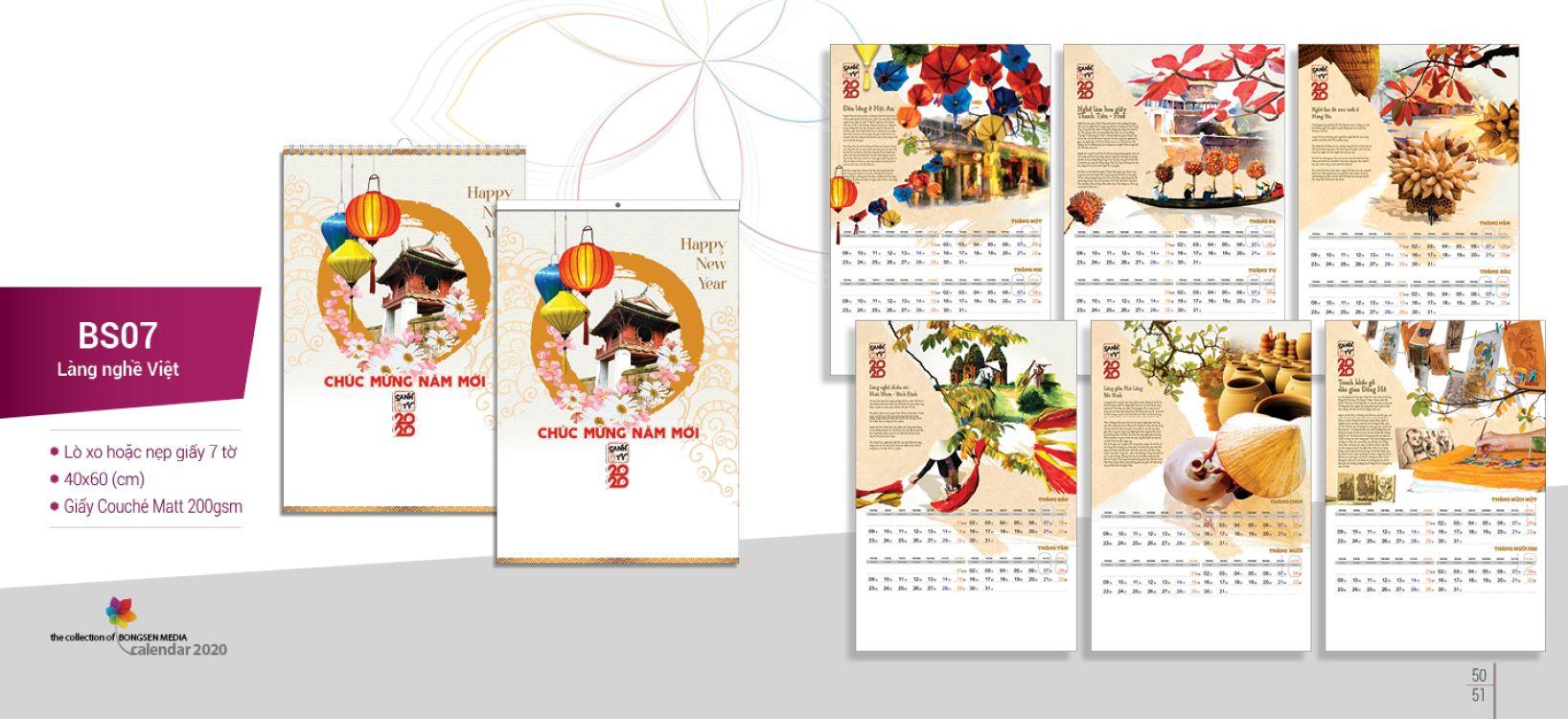 Mẫu lịch Tết treo tường BS 2020 - Làng nghề Việt
