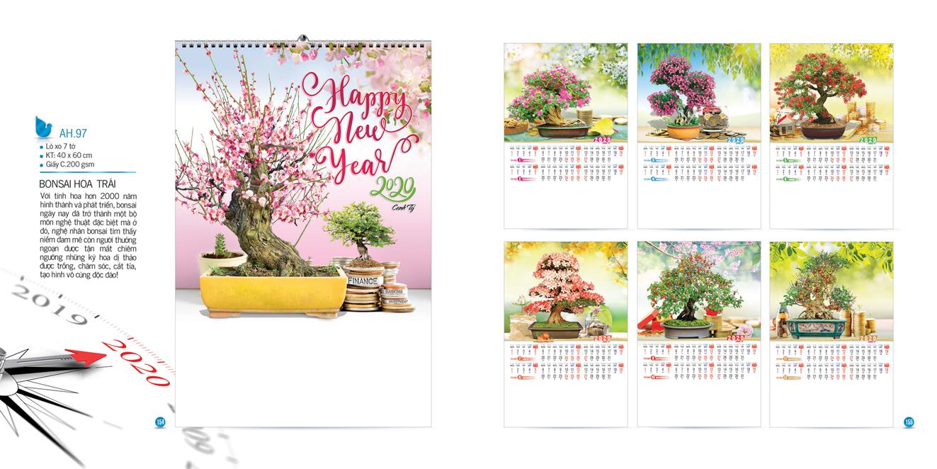Mẫu lịch Tết treo tường AH 2020 - Bonsai hoa trái