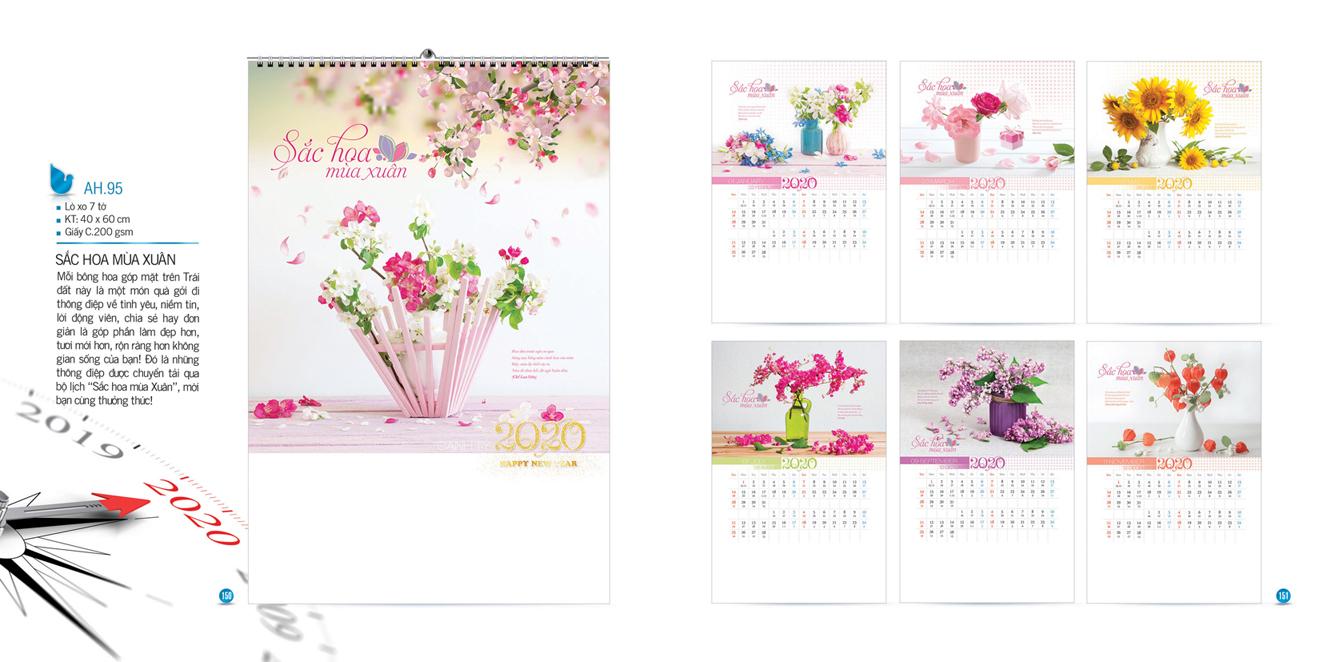Mẫu lịch Tết treo tường AH 2020 - Sắc hoa mùa xuân
