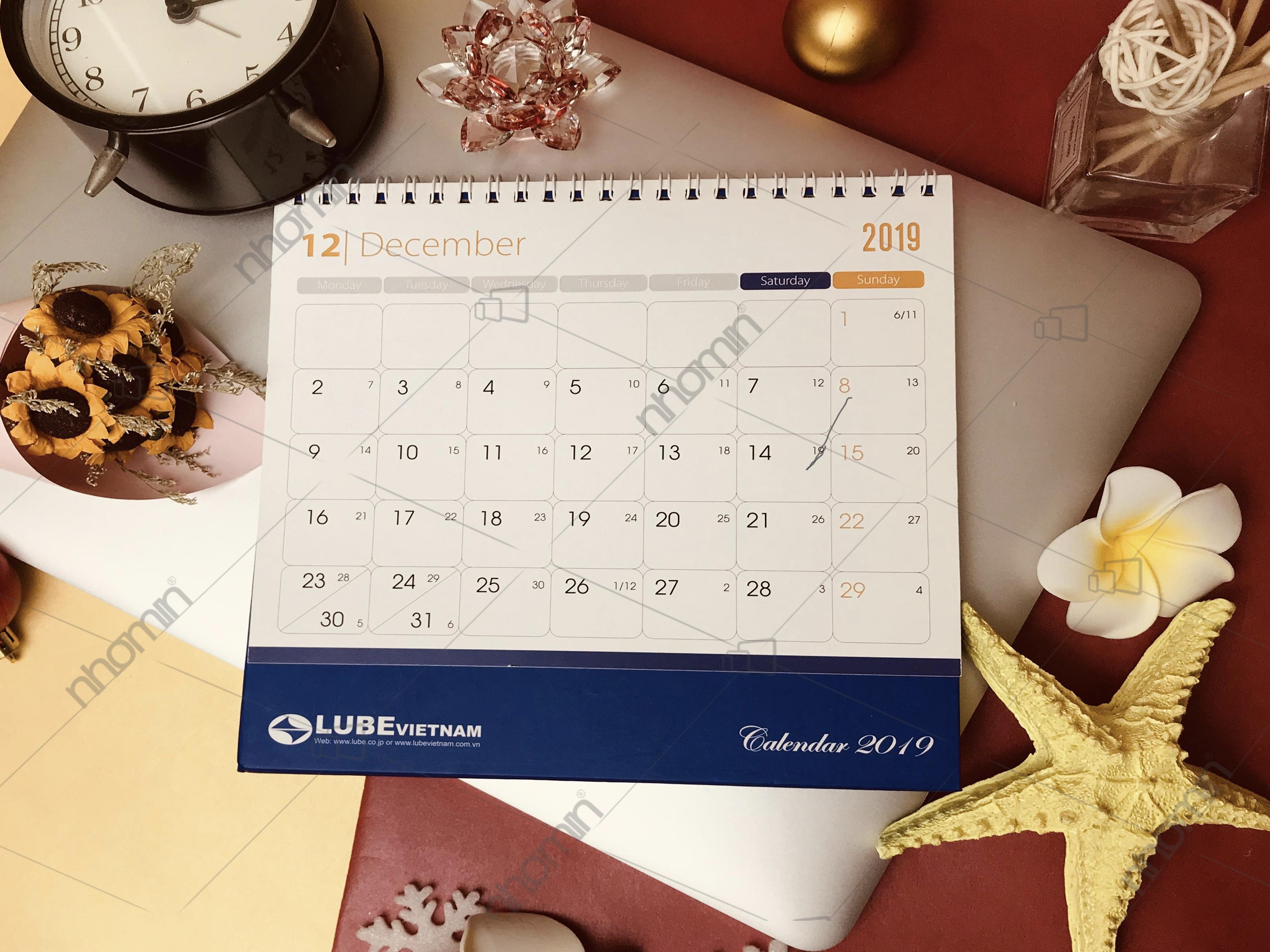 Sản phẩm lịch để bàn 2019 Sản xuất tại Nhóm In Gleap