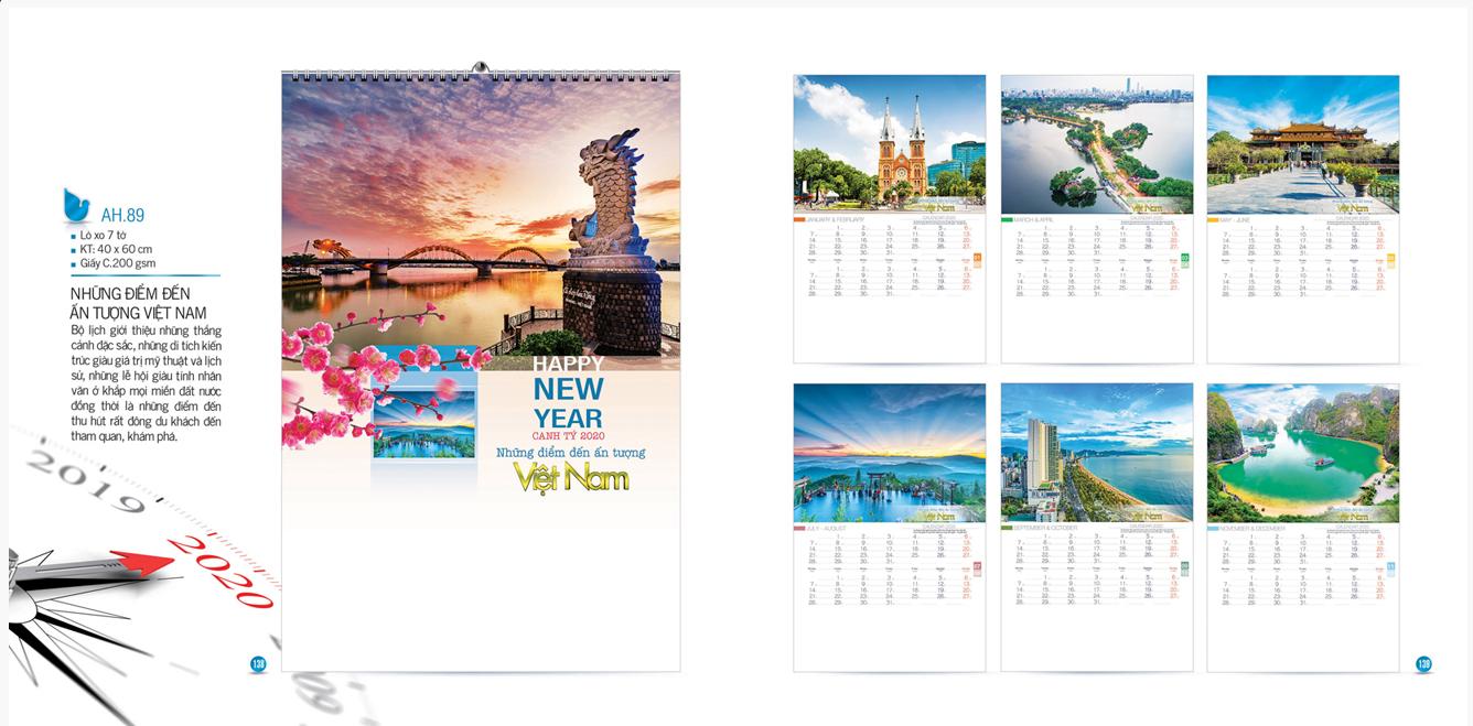 Mẫu lịch Tết treo tường AH 2020 - Những điểm đến ấn tượng Việt Nam