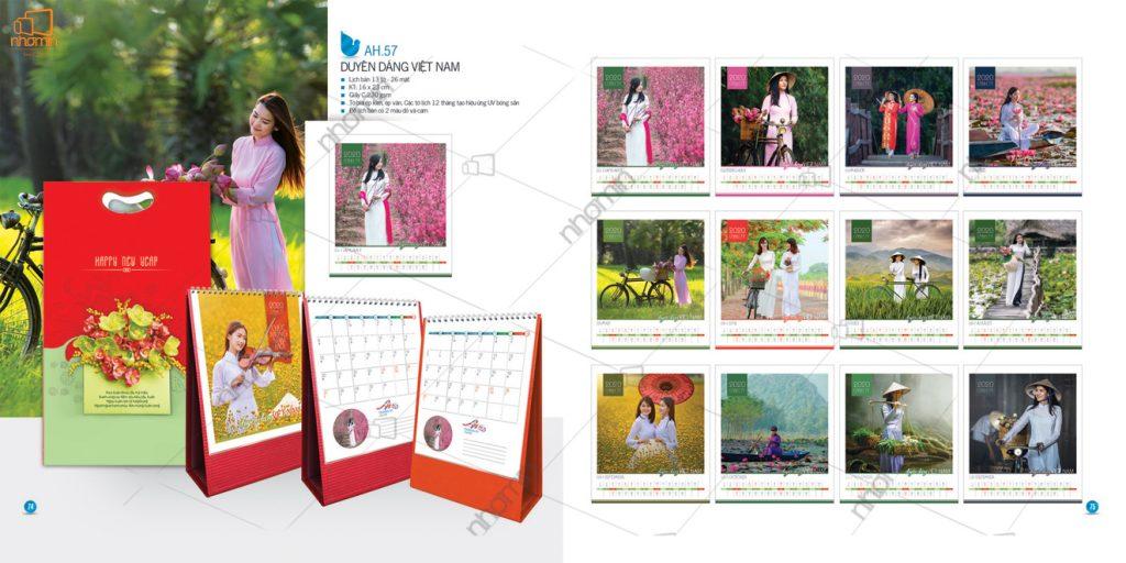 Mẫu lịch để bàn phôi sẵn ấn tượng 2020- Duyên dáng Việt Nam