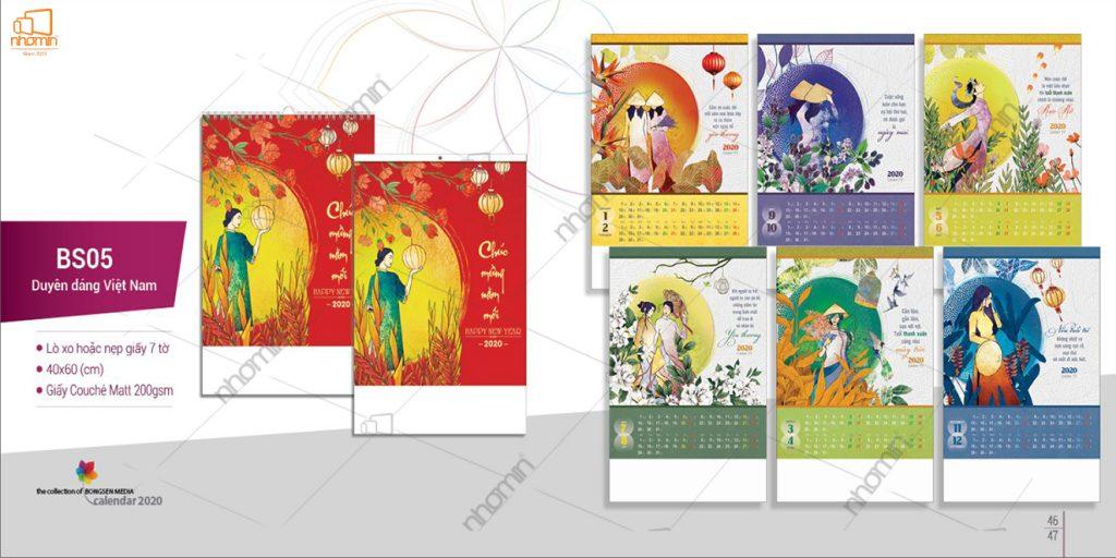 Mẫu lịch treo tường phôi sẵn ấn tượng 2020 -Duyên dáng Việt Nam