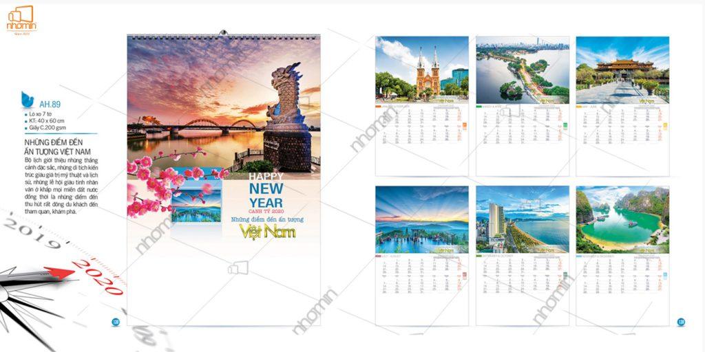 Mẫu lịch đẹp treo tường phôi sẵn 2020 - Những điểm đến ấn tượng Việt Nam