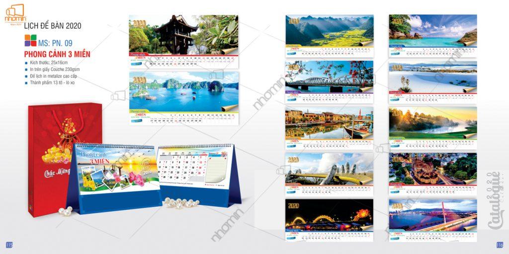 Mẫu lịch để bàn phôi sẵn đẹp 2020 - Phong cảnh 3 miền