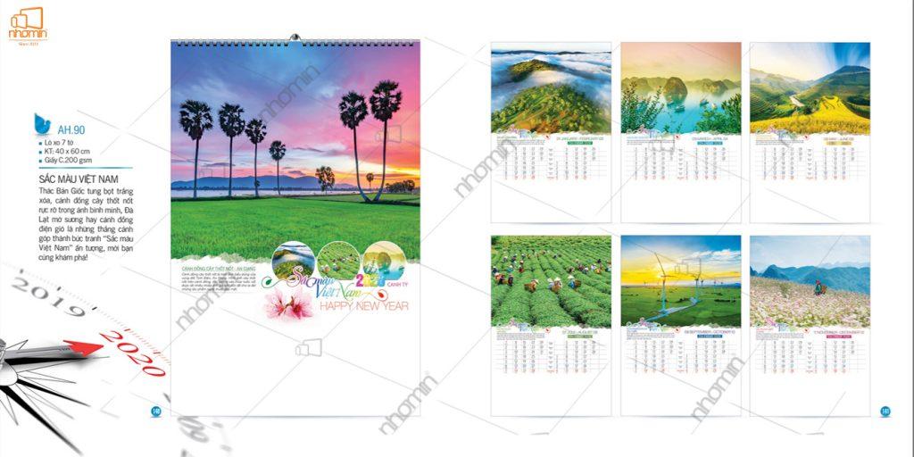 Mẫu lịch treo tường phôi sẵn 2020 - Sắc màu Việt Nam