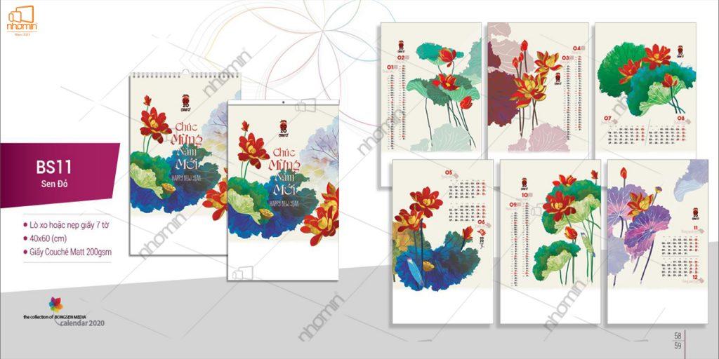 Mẫu lịch treo tường đẹp phôi sẵn 2020 - Sen đỏ