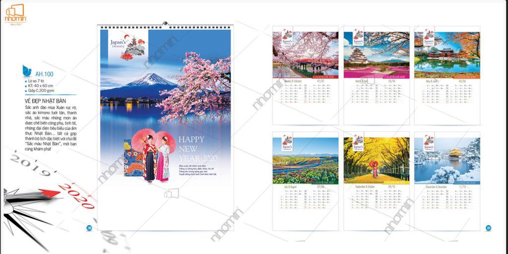 Mẫu lịch treo tường phôi sẵn đẹp 2020 - Vẻ đẹp Nhật Bản