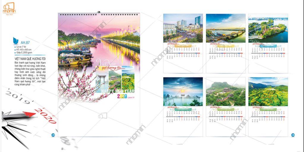 Mẫu lịch treo tường phôi sẵn đẹp 2020 - Việt Nam quê hương tôi