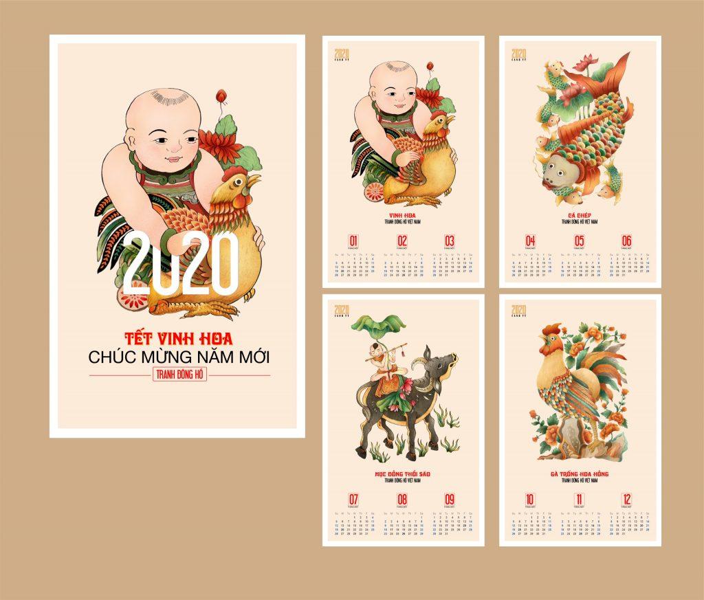 Mẫu lịch treo tường Nhóm In 2020 - Tranh Đông Hồ