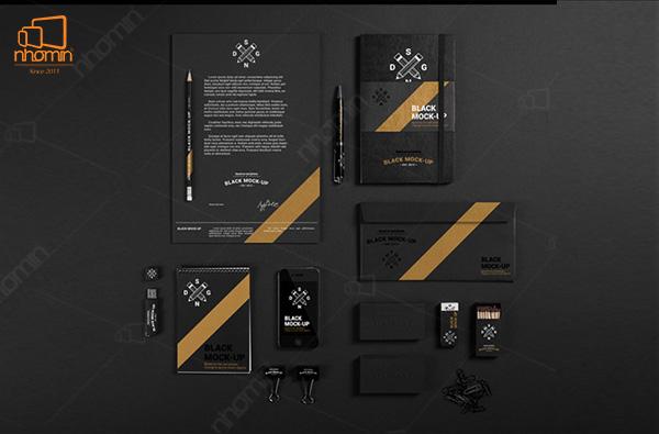 Mẫu thiết kế ấn phẩm văn phòng với tông màu cam và đen