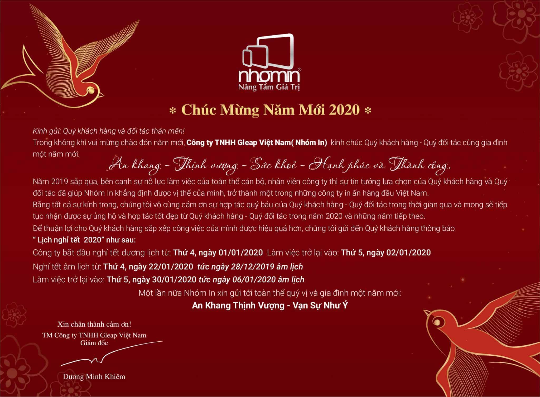 Thư chúc Tết và thông báo lịch nghỉ Tết Canh Tý 2020