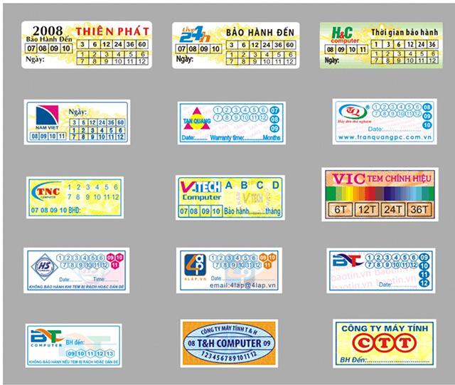 mẫu tem bảo hành 10
