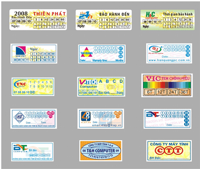 mẫu tem bảo hành 2