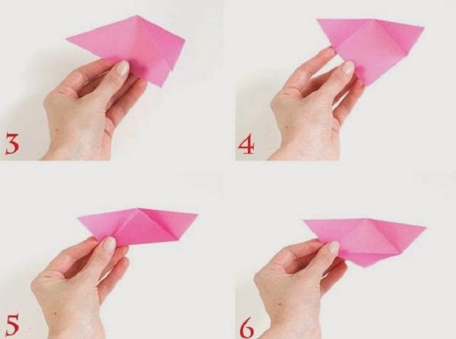 Cách gấp hộp giấy hình tam giác 2