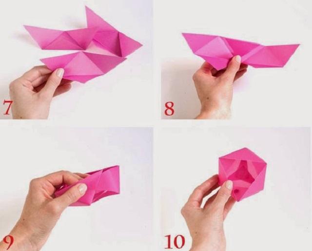 Cách gấp hộp giấy hình tam giác 3