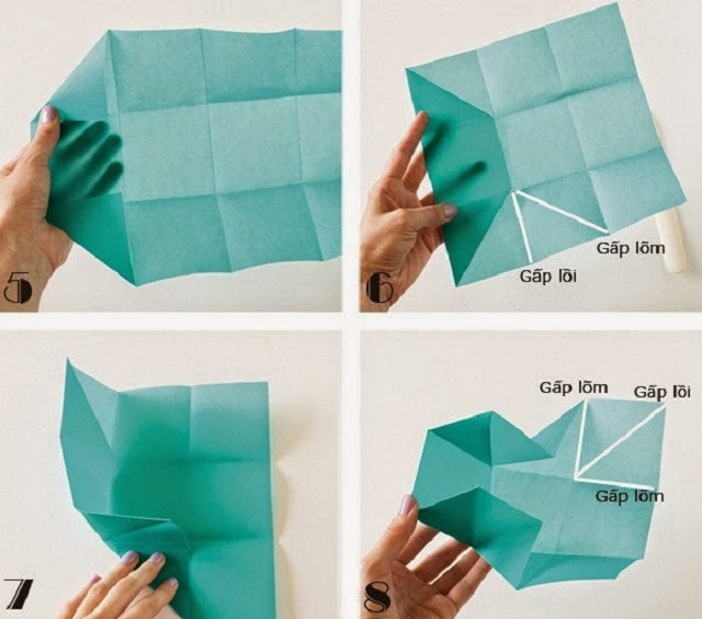 Cách gấp hộp giấy đựng kẹo 2