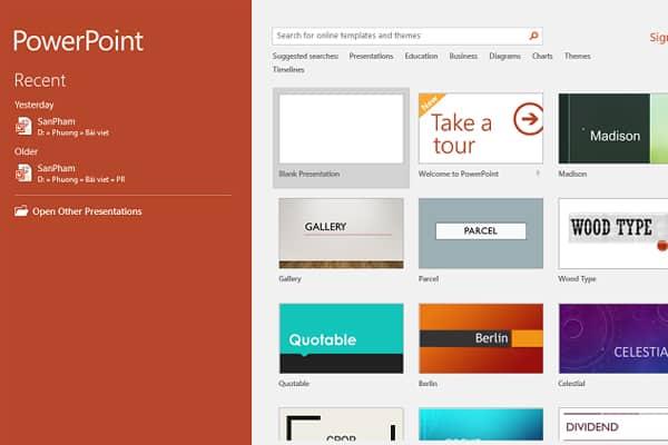 Cách làm poster bằng PowerPoint bước 1