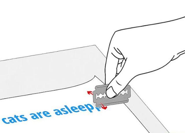 Cách tẩy mực in laser thủ công bằng dao lam