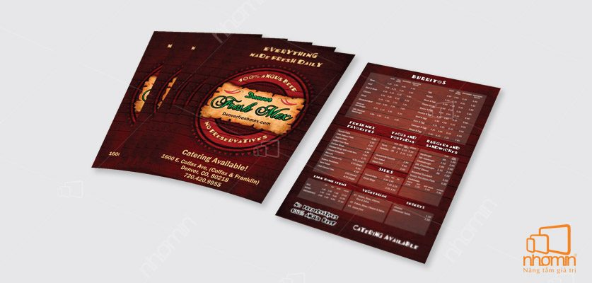 in menu tại hà nội