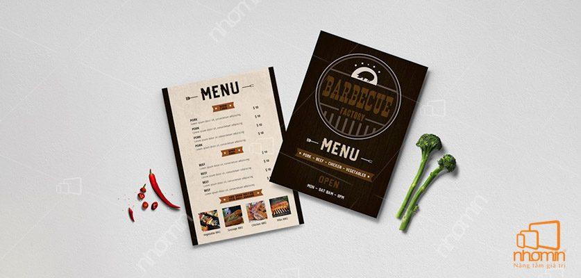 In menu đơn giản, sáng tạo