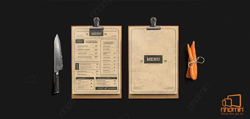 Kiểu dáng menu sang trọng, cổ điển