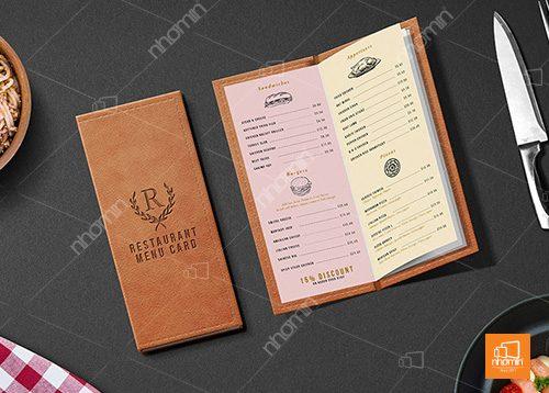 menu chất liệu bìa da