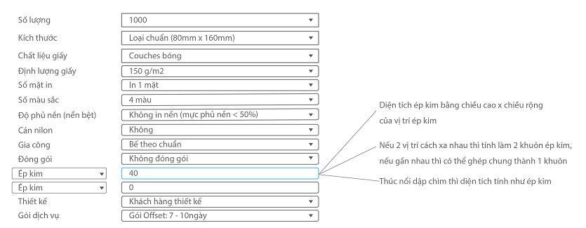 hướng dẫn sử dụng bảng báo giá trường hợp bao lì xì ép kim