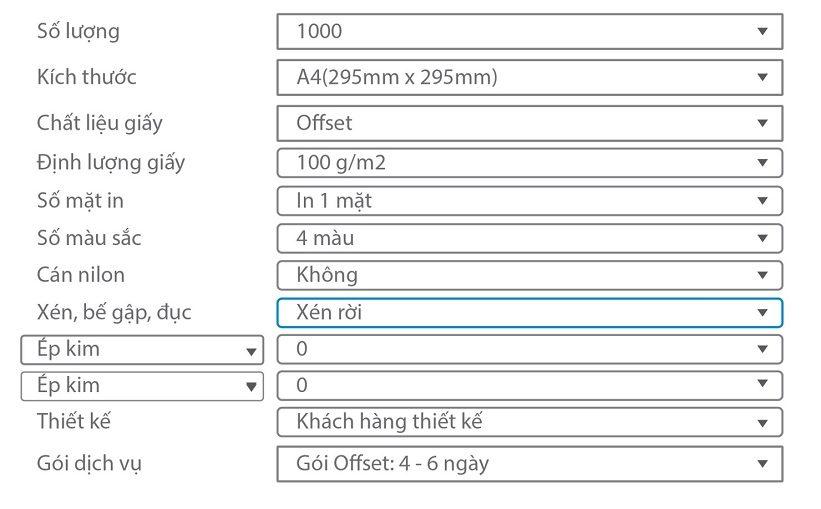 hướng dẫn tính giá in tiêu đề thư a4 thường