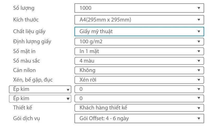 hướng dẫn tính giá in tiêu đề thư giấy mỹ thuật cao cấp