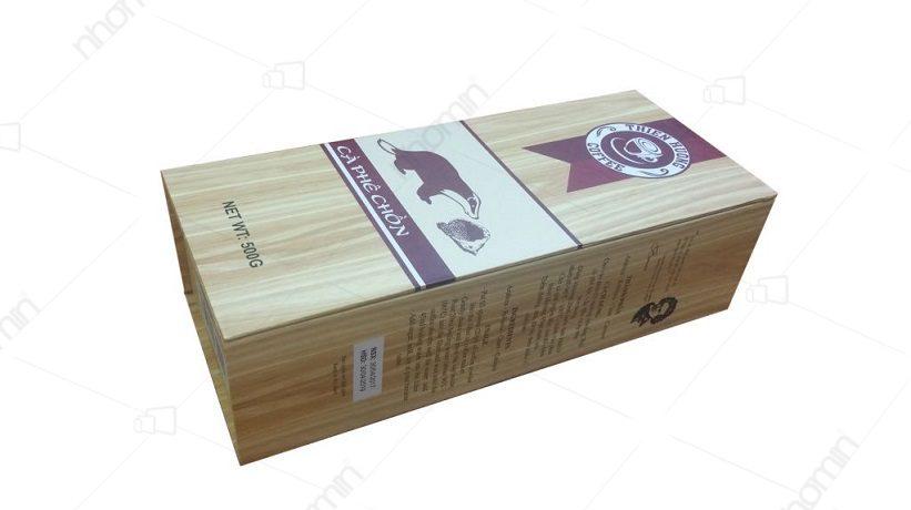 hộp carton lạnh cafe chồn màu vân gỗ